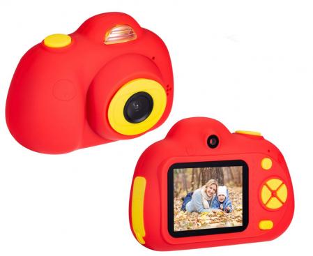 Aparat Foto Compact pentru Copii, Rosu, cu functie Selfie, Recunoastere Faciala, Filmare HD1