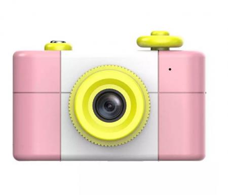 Aparat Foto Compact pentru Copii, Roz, cu Obiectiv, Fotografiere Full HD, Filmare HD + Cadou Husa de protectie1