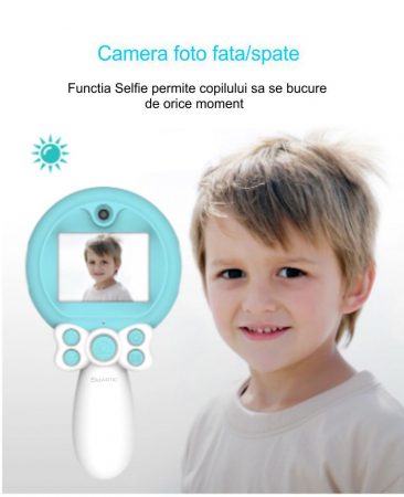 Aparat foto copii, SMARTIC ®, full HD, Magic Mirror V2, display 2.0 inch, blitz de tip LED, BPA free, Albastru/Alb2