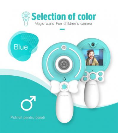 Aparat foto copii, SMARTIC ®, full HD, Magic Mirror V2, display 2.0 inch, blitz de tip LED, BPA free, Albastru/Alb [6]
