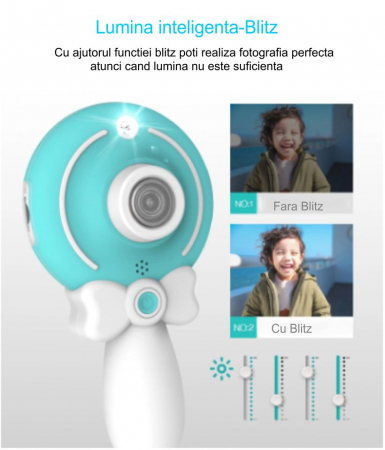 Aparat foto copii, SMARTIC ®, full HD, Magic Mirror V2, display 2.0 inch, blitz de tip LED, BPA free, Albastru/Alb1