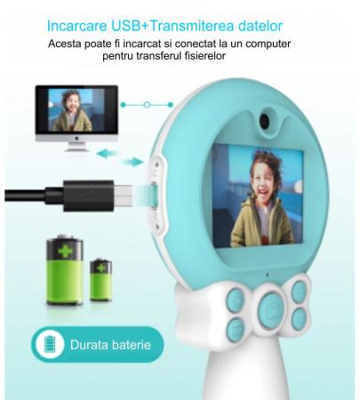 Aparat foto copii, SMARTIC ®, full HD, Magic Mirror V2, display 2.0 inch, blitz de tip LED, BPA free, Albastru/Alb [4]