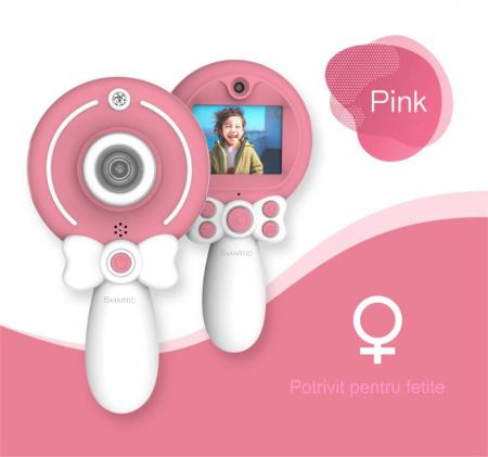 Aparat foto copii, SMARTIC ®, full HD, Magic Mirror V2, display 2.0 inch, blitz de tip LED, BPA free, Roz/Alb3