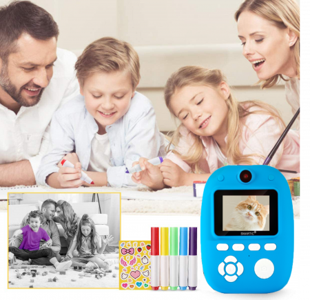 Aparat foto digital instant pentru copii, Lentile Duble, Imprimare Instant, Inregistrare Video, Focalizare Automata, Functie Selfie, 1080P HD, 18MP, 2.0 inch, Smartic®, albastru [3]