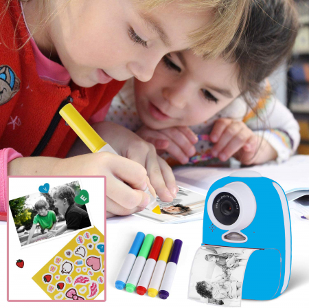 Aparat foto digital instant pentru copii, Lentile Duble, Imprimare Instant, Inregistrare Video, Focalizare Automata, Functie Selfie, 1080P HD, 18MP, 2.0 inch, Smartic®, albastru [6]