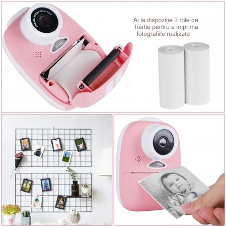 Aparat foto digital instant pentru copii, Lentile Duble, Imprimare Instant, Inregistrare Video, Focalizare Automata, Functie Selfie, 1080P HD, 18MP, 2.0 inch, Smartic®, roz6