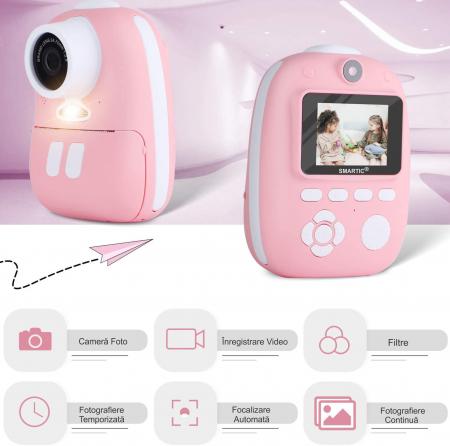 Aparat foto digital instant pentru copii, Lentile Duble, Imprimare Instant, Inregistrare Video, Focalizare Automata, Functie Selfie, 1080P HD, 18MP, 2.0 inch, Smartic®, roz3