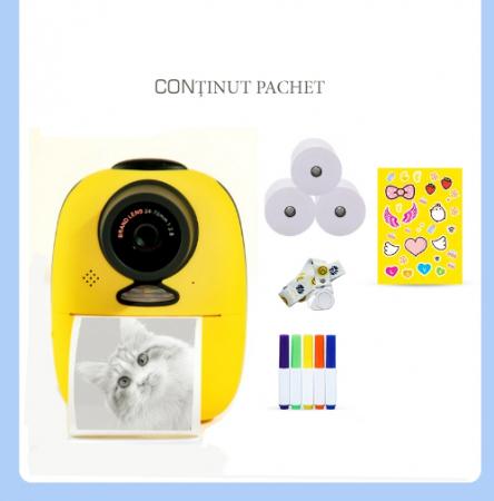 Aparat foto digital instant pentru copii, Lentile Duble, Imprimare Instant, Inregistrare Video, Focalizare Automata, Functie Selfie, 1080P HD, 18MP, 2.0 inch, Smartic®, galben8