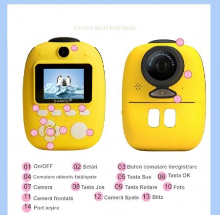 Aparat foto digital instant pentru copii, Lentile Duble, Imprimare Instant, Inregistrare Video, Focalizare Automata, Functie Selfie, 1080P HD, 18MP, 2.0 inch, Smartic®, galben7