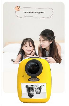 Aparat foto digital instant pentru copii, Lentile Duble, Imprimare Instant, Inregistrare Video, Focalizare Automata, Functie Selfie, 1080P HD, 18MP, 2.0 inch, Smartic®, galben3