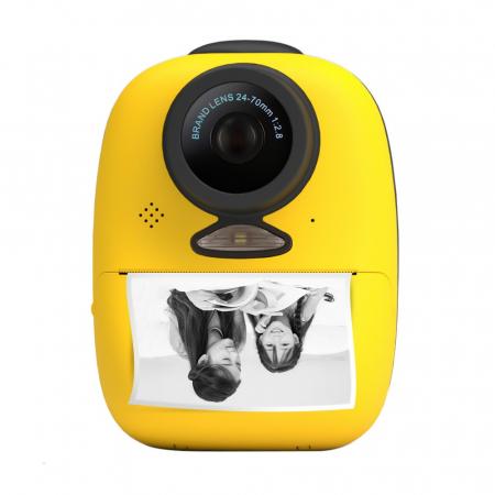 Aparat foto digital instant pentru copii, Lentile Duble, Imprimare Instant, Inregistrare Video, Focalizare Automata, Functie Selfie, 1080P HD, 18MP, 2.0 inch, Smartic®, galben1