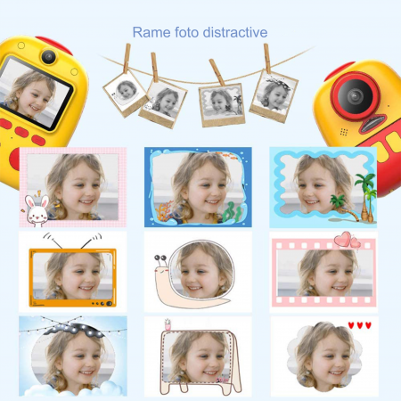 Aparat foto digital instant pentru copii, Lentile Duble, Imprimare Instant, Inregistrare Video, Focalizare Automata, Functie Selfie, 1080P HD, 18MP, 2.0 inch, Smartic®, rosu/galben8