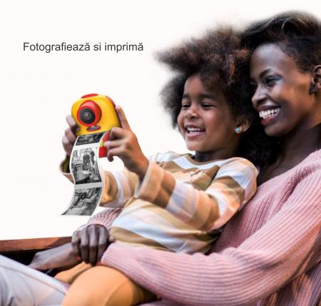 Aparat foto digital instant pentru copii, Lentile Duble, Imprimare Instant, Inregistrare Video, Focalizare Automata, Functie Selfie, 1080P HD, 18MP, 2.0 inch, Smartic®, rosu/galben6