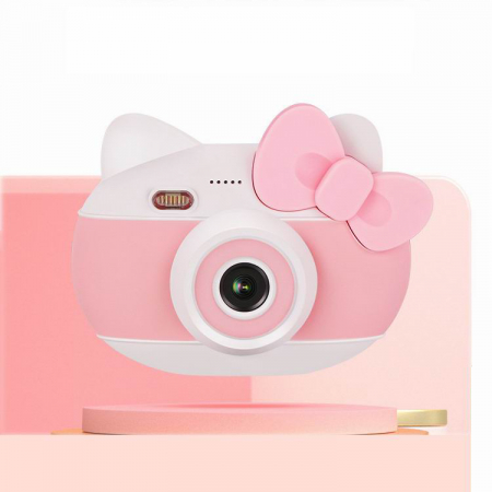 Aparat foto pentru copii Design Hello Kitty, Display 2 inch, Rezolutie 1080P, Wi-Fi, Foto/Video, Selfie, Blitz, Camera duala, Smartic®, roz1