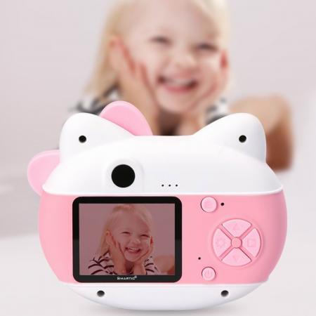 Aparat foto pentru copii Design Hello Kitty, Display 2 inch, Rezolutie 1080P, Wi-Fi, Foto/Video, Selfie, Blitz, Camera duala, Smartic®, roz3