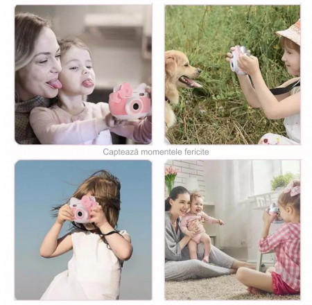 Aparat foto pentru copii Design Hello Kitty, Display 2 inch, Rezolutie 1080P, Wi-Fi, Foto/Video, Selfie, Blitz, Camera duala, Smartic®, roz4