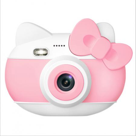 Aparat foto pentru copii Design Hello Kitty, Display 2 inch, Rezolutie 1080P, Wi-Fi, Foto/Video, Selfie, Blitz, Camera duala, Smartic®, roz0
