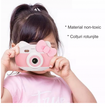 Aparat foto pentru copii Design Hello Kitty, Display 2 inch, Rezolutie 1080P, Wi-Fi, Foto/Video, Selfie, Blitz, Camera duala, Smartic®, roz6