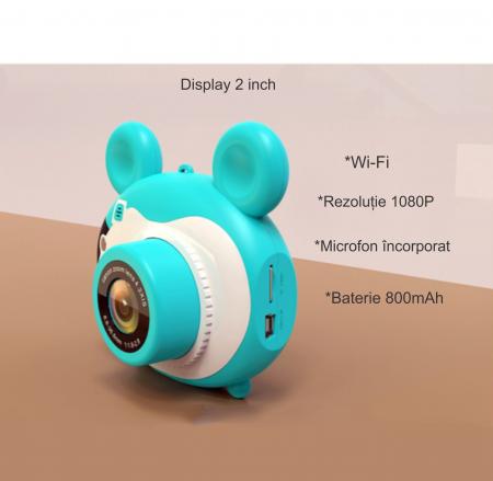 Aparat foto pentru copii, Design Mickey Mouse, Display 2 inch, Microfon incorporat, Rezolutie 1080P, Wi-Fi, Functie inregistrare, Muzica, Smartic®, albastru [4]