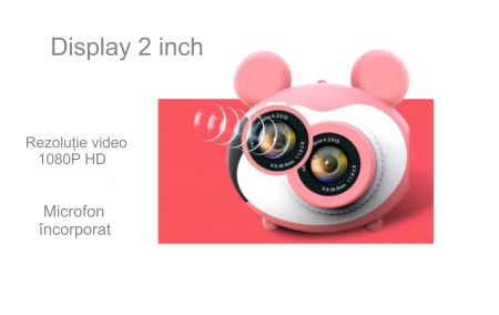 Aparat foto pentru copii, Design Mickey Mouse, Display 2 inch, Microfon incorporat, Rezolutie 1080P, Wi-Fi, Functie inregistrare, Muzica, Smartic®, roz [4]