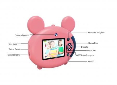 Aparat foto pentru copii, Design Mickey Mouse, Display 2 inch, Microfon incorporat, Rezolutie 1080P, Wi-Fi, Functie inregistrare, Muzica, Smartic®, roz [7]