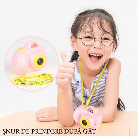Aparat Foto pentru copii SMARTIC, Compact , Roz, cu functie Selfie, Recunoastere Faciala, Filmare HD9