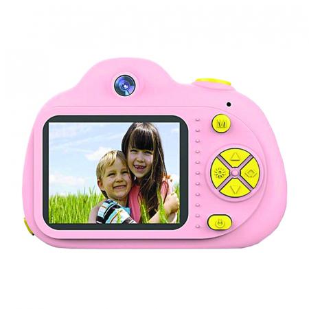 Aparat Foto pentru copii SMARTIC, Compact , Roz, cu functie Selfie, Recunoastere Faciala, Filmare HD0