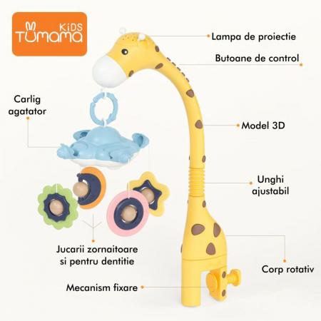 Arcada carusel Girafa Somnoroasa pentru patutul bebelusului, Tumama, galben2
