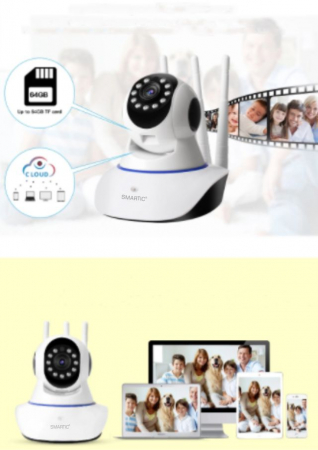 Baby monitor Camera Wireless V380IP, 3 antene 1080P, WiFi, NightVision, Aplicatie Telefon Mobil SMARTIC®, alb3