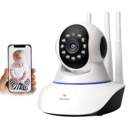 Baby monitor Camera Wireless V380IP, 3 antene 1080P, WiFi, NightVision, Aplicatie Telefon Mobil SMARTIC®, alb0