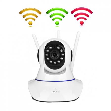Baby monitor Camera Wireless V380IP, 3 antene 1080P, WiFi, NightVision, Aplicatie Telefon Mobil SMARTIC®, alb [5]