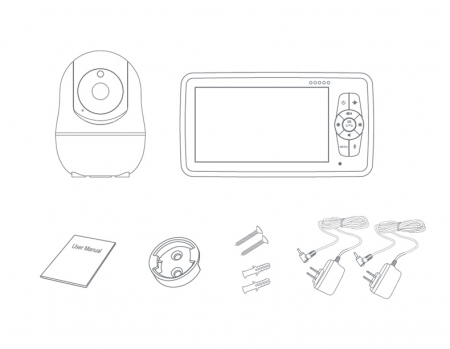 Baby monitor SM950, Display TFT LCD 5 inch, Raza actiune 300 m,  Rotire orizontala 355° / verticala 115°, Night Vision, Comunicare bidirectionala, Cantece leagan, Alarma, Monitorizare temperatura, Sma [8]