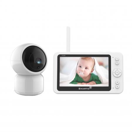Baby monitor SM956, Display TFT 5 inch, Raza actiune 100 m,  Rotire orizontala 355° / verticala 55°, Night Vision, Comunicare bidirectionala, Cantece leagan, Monitorizare temperatura, Smartic®, alb [0]