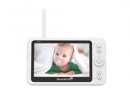 Baby monitor SM956, Display TFT 5 inch, Raza actiune 100 m,  Rotire orizontala 355° / verticala 55°, Night Vision, Comunicare bidirectionala, Cantece leagan, Monitorizare temperatura, Smartic®, alb [2]