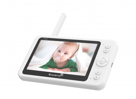 Baby monitor SM956, Display TFT 5 inch, Raza actiune 100 m,  Rotire orizontala 355° / verticala 55°, Night Vision, Comunicare bidirectionala, Cantece leagan, Monitorizare temperatura, Smartic®, alb [1]