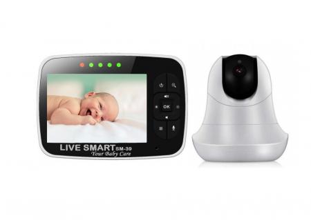 Baby Monitor Smart SI-LiveSmart SM39, WI-FI, Rotire 355⁰ orizontala / 120⁰ verticala, Comunicare bidirectionala, Activare Vocala, Cantece Leagan incorporate, Alb/Negru0