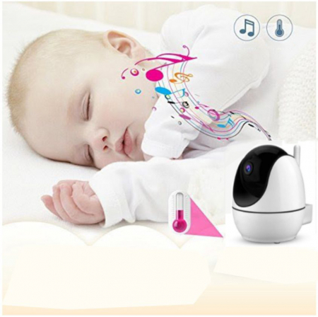 Baby monitor Smartic® BM200 Ecran HD 4.5 inch, Night Vision, Rotire Automata 355ᵒ orizontala/90ᵒ verticala, 8 cantece de leagan incorporate, Alarma, Monitorizare Temperatura,  alb/negru5