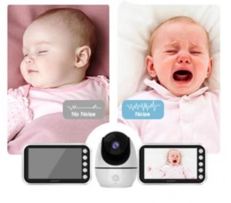 Baby monitor Smartic® BM200 Ecran HD 4.5 inch, Night Vision, Rotire Automata 355ᵒ orizontala/90ᵒ verticala, 8 cantece de leagan incorporate, Alarma, Monitorizare Temperatura,  alb/negru3