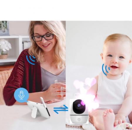 Baby monitor Smartic® BM200 Ecran HD 4.5 inch, Night Vision, Rotire Automata 355ᵒ orizontala/90ᵒ verticala, 8 cantece de leagan incorporate, Alarma, Monitorizare Temperatura,  alb/negru2