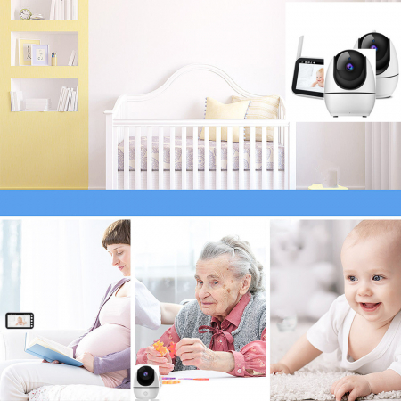 Baby monitor Smartic® BM200 Ecran HD 4.5 inch, Night Vision, Rotire Automata 355ᵒ orizontala/90ᵒ verticala, 8 cantece de leagan incorporate, Alarma, Monitorizare Temperatura,  alb/negru6