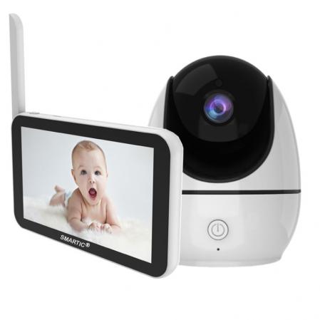 Baby monitor Smartic® BM500 Ecran 5 inch, TouchScreen, Night Vision, Comunicare Bidirectionala, Rotire Automata 355ᵒ, Cantece leagan, Monitorizare Temperatura, Raza 300 m, alb/negru [0]
