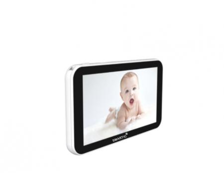 Baby monitor Smartic® BM500 Ecran 5 inch, TouchScreen, Night Vision, Comunicare Bidirectionala, Rotire Automata 355ᵒ, Cantece leagan, Monitorizare Temperatura, Raza 300 m, alb/negru [7]