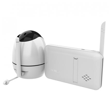Baby monitor Smartic® BM500 Ecran 5 inch, TouchScreen, Night Vision, Comunicare Bidirectionala, Rotire Automata 355ᵒ, Cantece leagan, Monitorizare Temperatura, Raza 300 m, alb/negru [9]