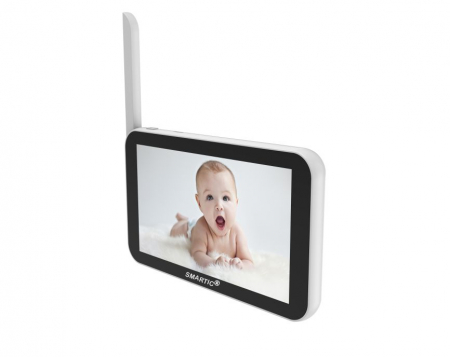 Baby monitor Smartic® BM500 Ecran 5 inch, TouchScreen, Night Vision, Comunicare Bidirectionala, Rotire Automata 355ᵒ, Cantece leagan, Monitorizare Temperatura, Raza 300 m, alb/negru [3]