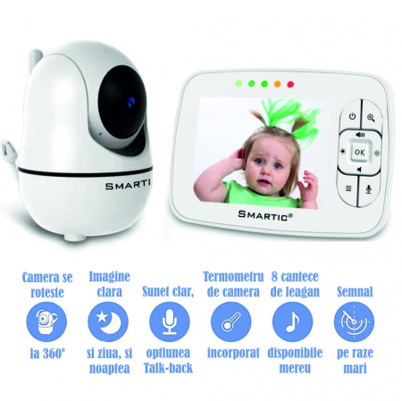 Baby Monitor SMARTIC SM32, WI-FI, Rotire 360 grade, Talk-Back, Activare Vocala, Cantece Leagan incorporate, Alb2