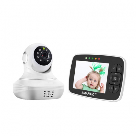 Baby Monitor SMARTIC SM38, camera 45 MP, Rotire Automata, Eco Mode, Cantece de leagan, Termometru, Alb/Negru0