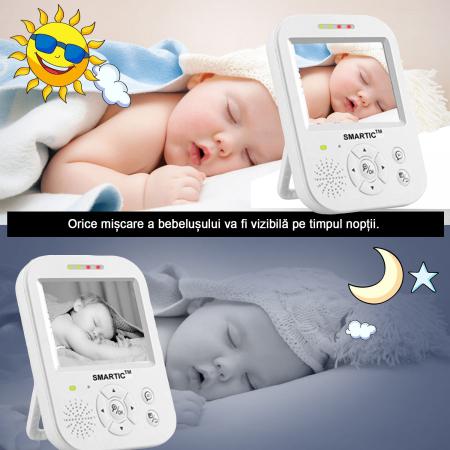 Baby Monitor SMARTIC SM96, Night Vision, Rotire Automata, Comunicare Bidirectionala, Alb/Negru1