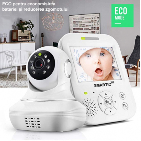 Baby Monitor SMARTIC SM96, Night Vision, Rotire Automata, Comunicare Bidirectionala, Alb/Negru4