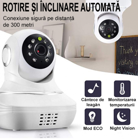 Baby Monitor SMARTIC SM96, Night Vision, Rotire Automata, Comunicare Bidirectionala, Alb/Negru3