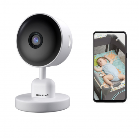 Baby Monitor V1, Rezolutie HD 1920 x 1080P, WiFi, Functia Night Vision, Aplicatie Telefon, Smartic®, alb [0]